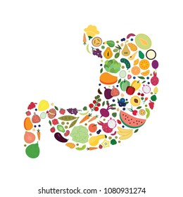 vector illustration for different fruits and vegetables in stomach shape design for healthy nutrition and digestion concepts