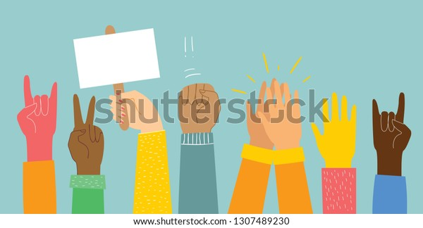 Vector Illustration Different Hands Concept Unity Stock Vector