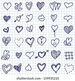 Vector illustration of different hearts hand drawn, doodle set isolated on notepaper