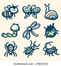 A vector illustration of different insects collection in ink stained doodle style.