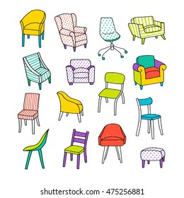Vector illustration with different kinds of chairs. Hand drawn style