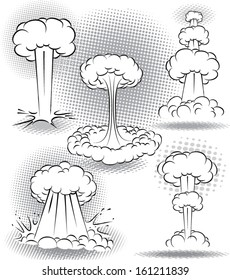 vector illustration of different kinds of explosion bubbles