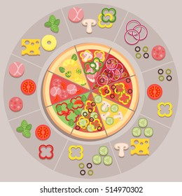 Vector illustration of different kinds of pizza with ingredients for pizzeria or delivery service.