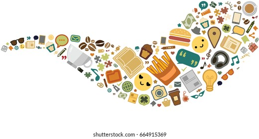 vector illustration of different lifestyle things lat lay in wave shape