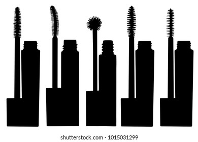 Vector Illustration of a different mascara wands. Set of brushes mascara isolated on white background. Make up tools elements