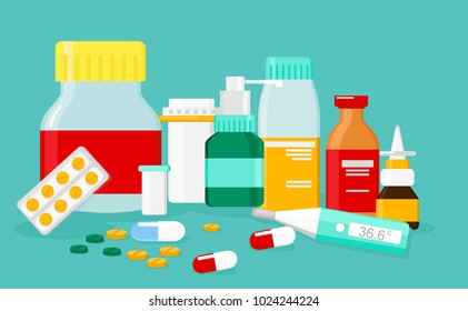 Vector illustration of different medical pills and bottles, pharmacy, drug store. Healthcare concept in flat style.