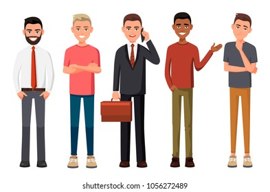 Vector illustration of different men. Man in casual or official clothes, young black guy, man with blond hair. Cartoon realistic people. Flat young people. Worker in a shirt with phone in one hand.
