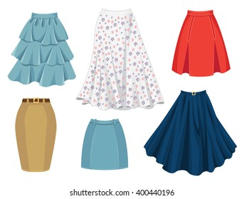 Vector illustration of different model and color skirt isolated on white background