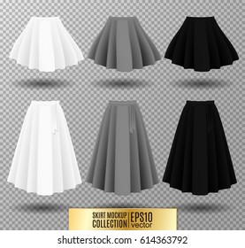 Vector illustration of different model skirt on transparent background. pleated skirt mock up. White, gray and black variation