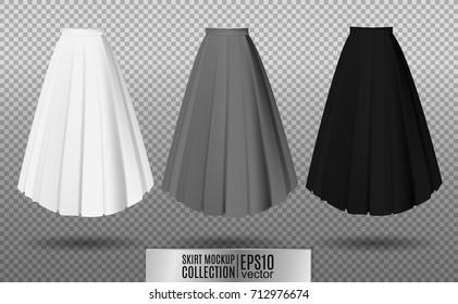 Vector illustration of different model skirt on transparent background. pleated skirt mock up. White, gray and black variation