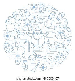 Vector illustration of different new year and christmas symbols arranged in a circle. Winter elements made in line style.