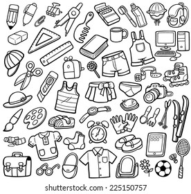 Vector Illustration of Different objects - Coloring book