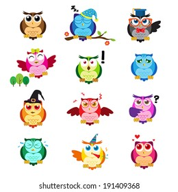 A vector illustration of different owls with different expressions