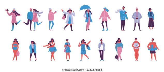 Vector illustration of different people with phones, couples, friends, women in the flat style.