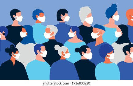 vector illustration with different people of different sexes and ethnic diversity all wearing face masks. concept corona virus and vaccines in the pandemic.