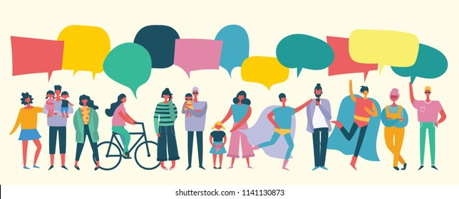 Vector illustration of different people with speech bubbles