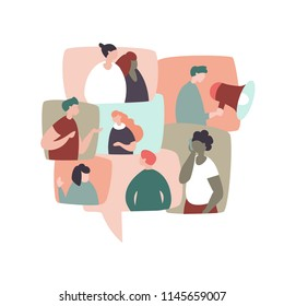 Vector illustration of different people in talking bubbles communicate with each other. Concept communication, social network, chatting
