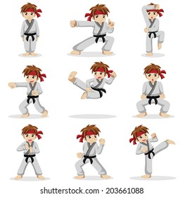 A vector illustration of different poses of karate kid