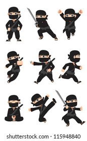 A vector illustration of different poses of a kid ninja