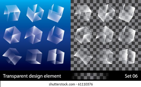 Vector illustration of different position style transparent boxes