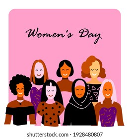 Vector illustration of different postcard girls. Womans day holiday. 8 march. Template, magazine, background, business, idea, layout, banner, postcard, people theme.