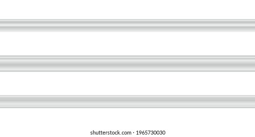 Vector illustration different shapes skirting boards for wall or floor isolated on white background. Set of realistic white seamless baseboards in flat style. Plastic or wood molding patterns.