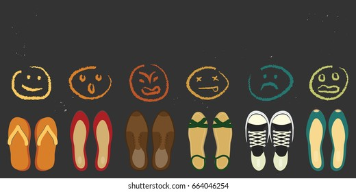 vector illustration for different shoes and variety of moods for personality types and reactions concepts