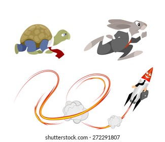 Vector illustration of a different speed in business