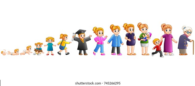 Vector illustration of Different stage of life of a female from baby to old