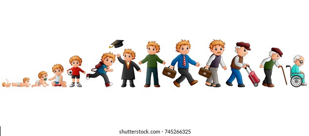 Vector illustration of Different stage of life of a male from baby to old