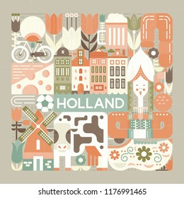 Vector illustration with different symbols of Holland made in modern vector style. Square concept.