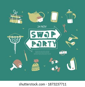 Vector illustration of different things for exchange. Swap concept.