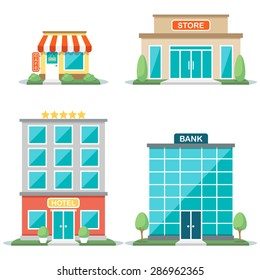 Vector illustration of different types of buildings: cafe, store, hotel, bank. Isolated on white background. Flat design style. Eps 10.