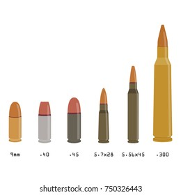 Vector illustration different types of bullets isolated on white background. Rifle bullets caliber