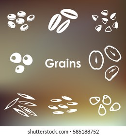 vector illustration of  different types of grains monochrome flat icons on abstract blurry background