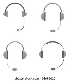 Vector illustration of different types of headsets