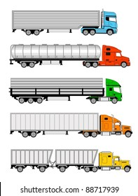 Vector illustration of  different types of larges trucks