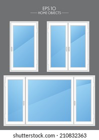 Vector illustration. Different types of plastic windows isolated on dark background. Interior and exterior elements. Flat style
