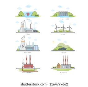 vector illustration of different types of power plants.  Tidal, nuclear energy, hydro energy, coal, solar, wind, Geo thermal, biomass energy.