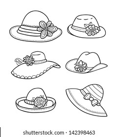 d4ac318a vector illustration of different types of summer women hats