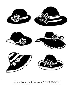 vector illustration of different types of summer women hats b337b3fa0e77