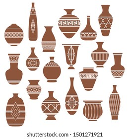 Vector illustration of different vases and pots on white background