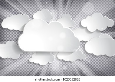 Vector illustration of different white paper clouds set with sun rays on a chequered background