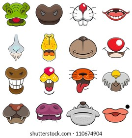 A vector illustration of different wild animals mouth cartoons