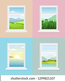 Vector illustration of different window views. Mountains, forest, fields, sea with sunrise window views collection in flat style.