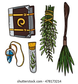 Vector illustration of Different Witchcraft Items Design Elements