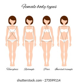Vector illustration of different women's figures. Four female body types: hourglass, rectangle, pear, inverted triangle.