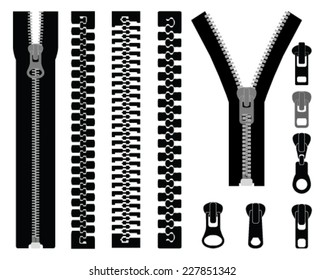 Vector illustration of different zippers