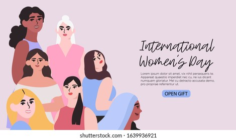 Vector illustration of differnet diverse multiethnic group of women . Creative banner, poster, social media post, greeting card, landing page, ad for international womens day or 8 of march greeting.