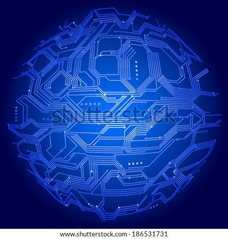 vector illustration digital background blue sphere stock vectorvector illustration of digital background with blue sphere made of circuit board gradients are used eps8 vector